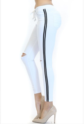 White side Stripe reg pants