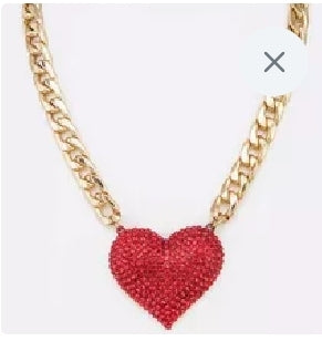 Red Heart Necklace Set