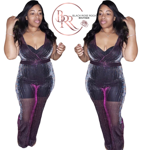 Purple sheer jumpsuit