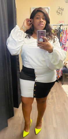 Black and White Checkered Plus Size Skirt