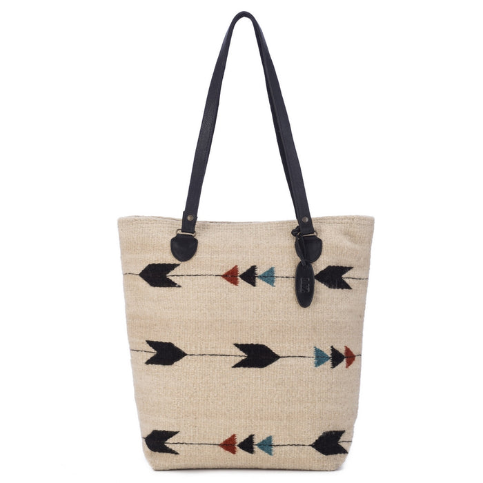 Fair Trade Wool large tote - Obsidian Arrow Maria Tote in off-white with arrows of burgundy, black and light blue
