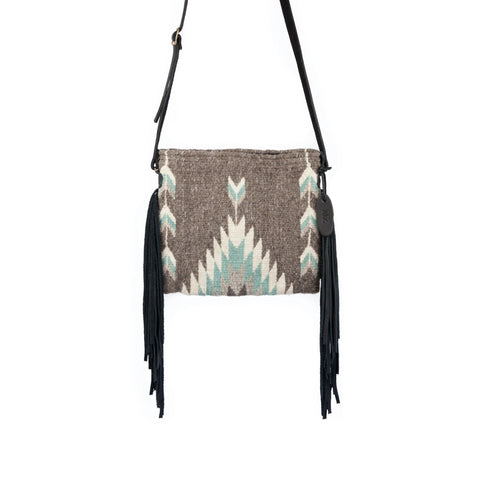 Fair trade wool Fringe Bag - Zapotec Design - Smoky Quartz in burgundy, white and tan