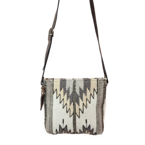 Fair Trade Wool Crossbody - Zapotec Design - Natural Chevrons in tan, white and grey