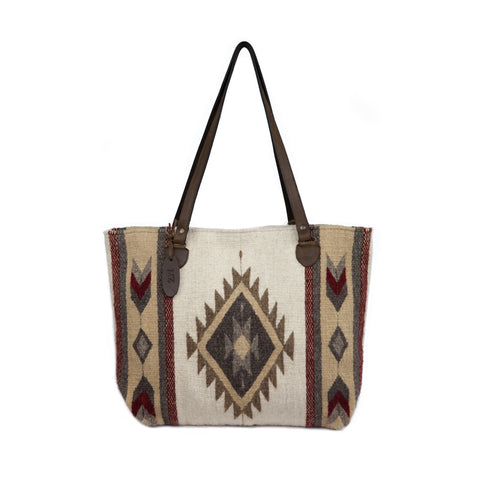Fair Trade Wool Zapotec design large tote - tan, burgundy, off white