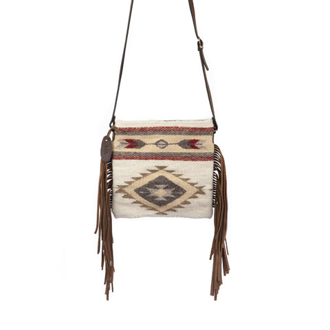 Fair trade wool Fringe Bag - Zapotec Design - Snowflake Palomita in burgundy, white and tan