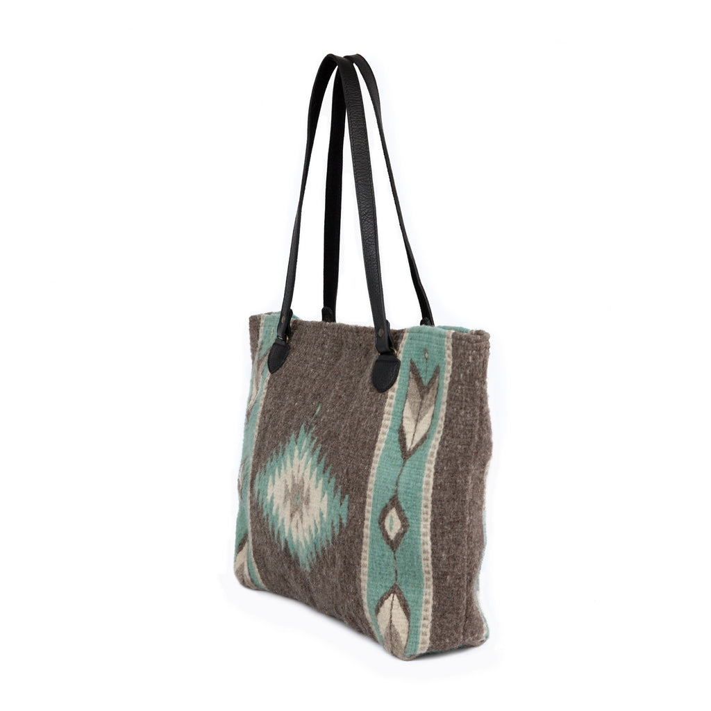 Fair Trade Wool Zapotec  print large tote - mint and grey