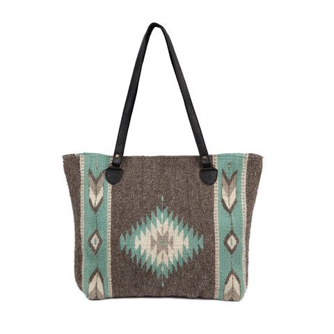 Fair Trade Wool Zapotec design large tote - mint and grey