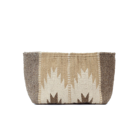 Fair Trade Wool Sierra Norte Lupita clutch - Zapotec design in tan, off-white & grey