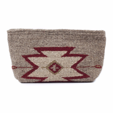 Fair Trade Wool Lupita clutch - Zapotec design in tan and burguny