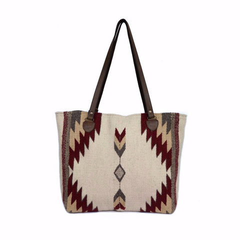 100% wool, hand dyed and hand woven tote - burgundy, tan, white. By Manos Zapotecas