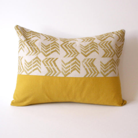 Mustard and Flax Hand Stamped Pillow by Nesta Home.  #Handcrafted #AmericanMade #ThreeHeartsHome