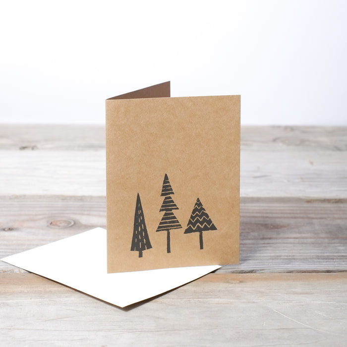 Hand Printed Evergreen Card with 100% Recycled Envelope by Three Hearts Home.  Handcrafted, American Made.