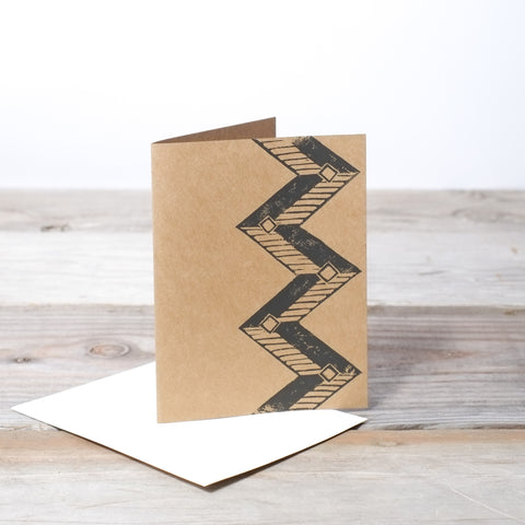 Hand Printed Geometric Design Card with 100% Recycled Envelope by Three Hearts Home.  Handcrafted, American Made.