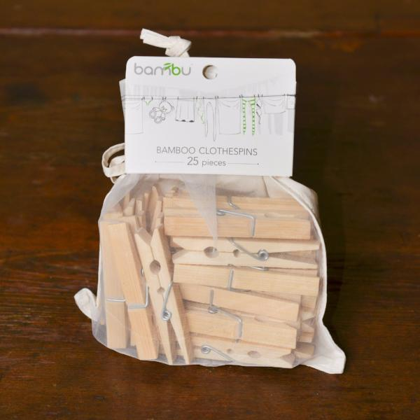 Bamboo Clothespins by bambu.  Handcrafted, Sustainable.  #Handcrafted #Sustainable #FairTrade  #ThreeHeartsHome