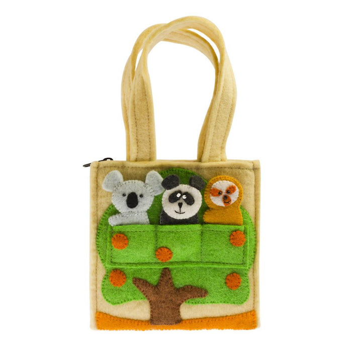 Handmade Forest Friends Felt Puppet Bag