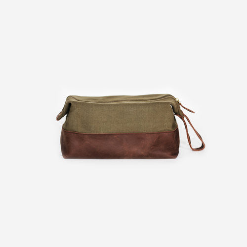 Flynn Wash Bag | Fair Trade Canvas and Leather