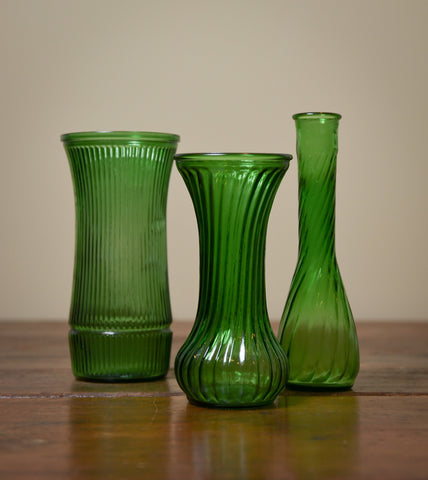 Set of Three Vintage Green Glass Vases.  #Reuse #Vintage #ThreeHeartsHome