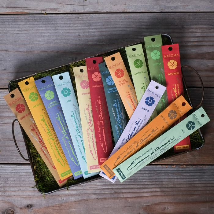 Maroma Fair Trade Incense, available in 14 fragrances at Three Hearts Home