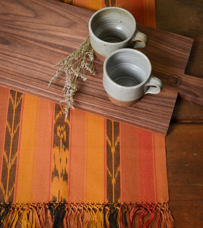 "Handwoven ""Maya Sunset"" Cotton Runner.  #Pattern #Handcrafted #Fair Trade #ThreeHeartsHome"