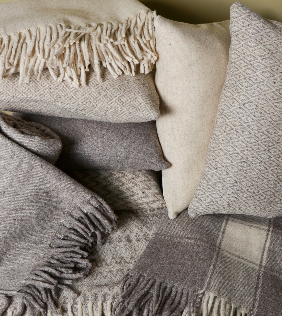 Virgin Wool Pillows and Blankets by Mexchic.  100% virgin, all natural, unprocessed Mexican wool. #Handcrafted #FairTrade #Sustainable #ThreeHeartsHome