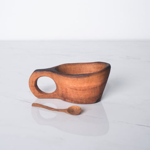 Wild Olive Wood Root Spice Bowl with Spoon