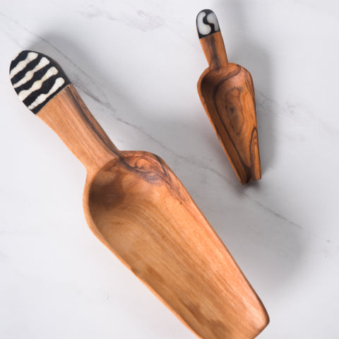 Wild Olive Wood Scoops with Bone Inlay