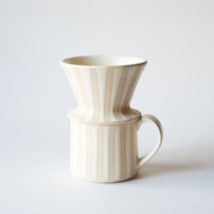White Stripe Pour Over Set | Wheel Thrown Ceramic Set