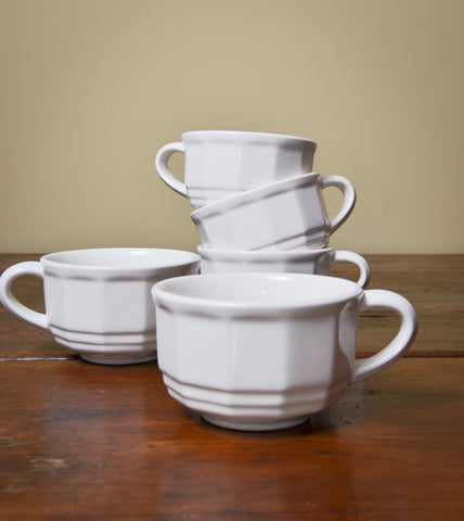 Set of Five White Vintage Mugs #Reuse #Vintage #ThreeHeartsHome