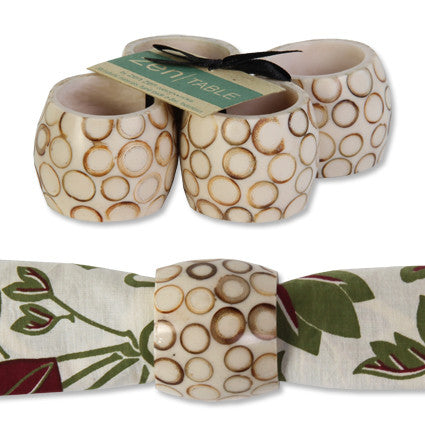 Set of Four Natural Bamboo Inlay Napkin Rings