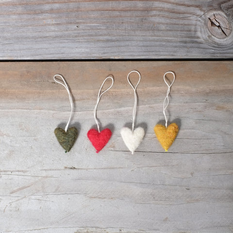 Felted Wool Hearts Ornaments.  Handcrafted in Portland, Oregon.  #Handmade #AmericanMade #AllNatural
