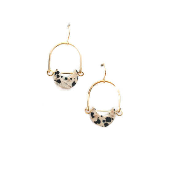 Michelle Starbuck Designs | Dalmatian Jasper Mini Eclipse Earrings