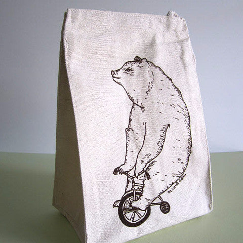 Screen Printed Reusable Lunch Bag | Canvas With Cotton Rope Handle | Eco-friendly