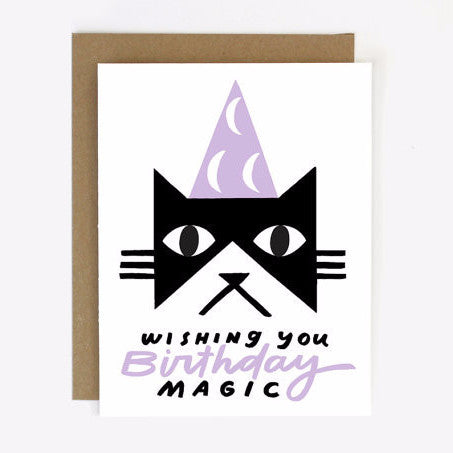 Cat wizard - Birthday Magic Screen Printed Card