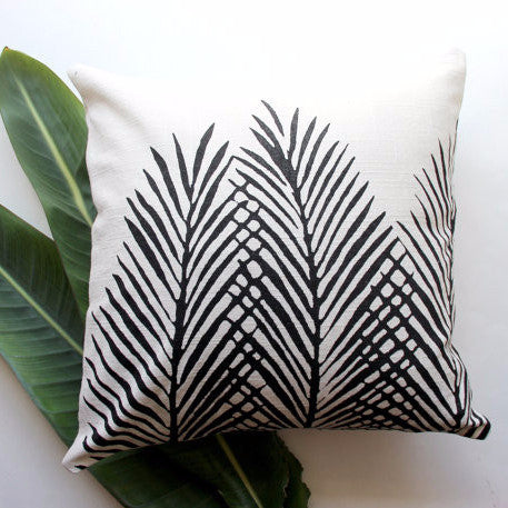 Throw Pillow | Cream and Black Nipa Palm Leaf