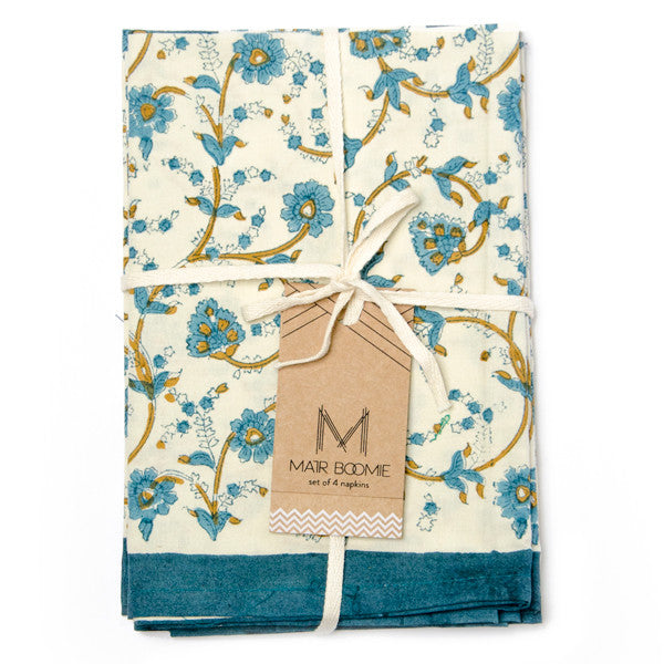 Block Print Garden Napkins | Set of Four | Cerulean