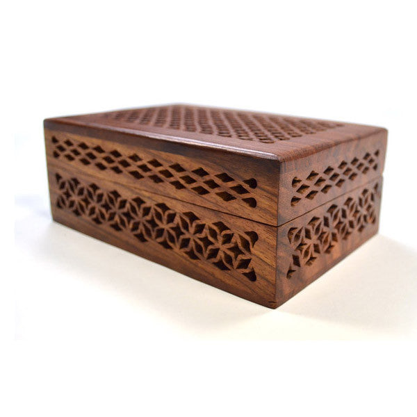 Fair Trade Rosewood Cutwork Box