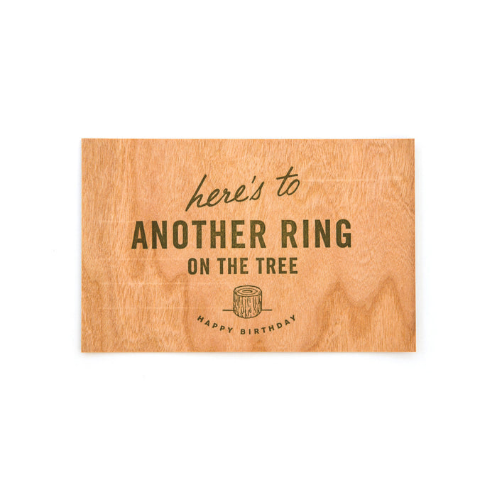 """Another Ring on the Tree"" Wood Veneer Birthday Postcard by Sideshow Press, available at Three Hearts Home"