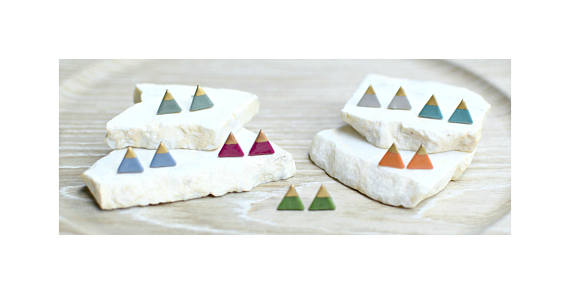 Clay Triangle Stud Earrings
