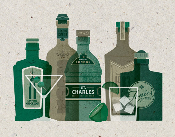 Gin Print | Vintage Inspired | 11 x 14