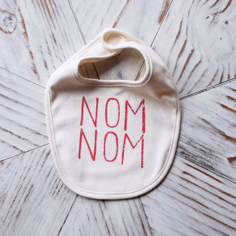 Screen Printed Infant Bib | Nom Nom