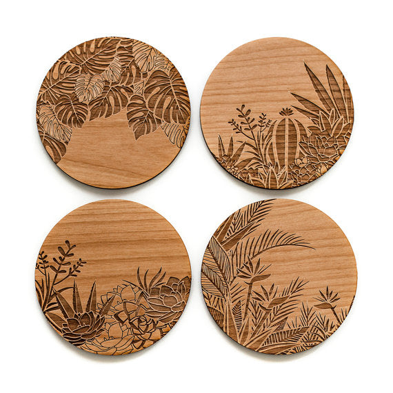 Set of Four Wood Coasters | Botanical