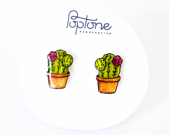 Hand Drawn Stud Earrings | Potted Cactus
