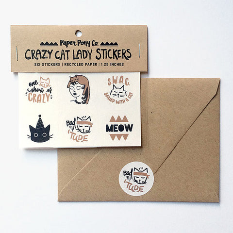 """Crazy Cat Lady"" Set of 6 Stickers by Paper Pony Co., available at Three Hearts Home"