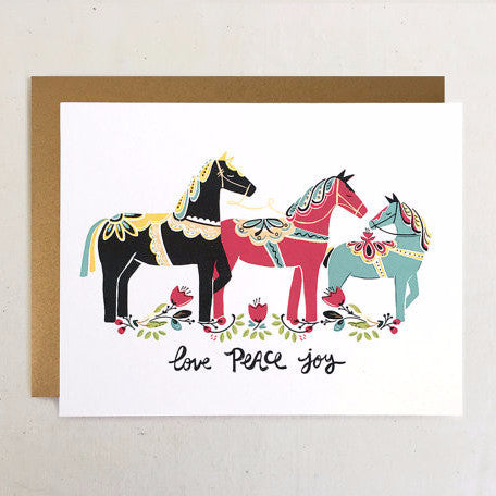"""Dala Horses"" Holiday Card by Paper Pony Co., available at Three Hearts Home"