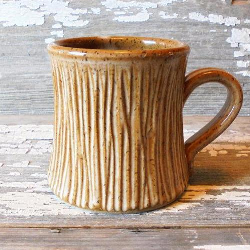 Handmade Mug | Hand Carved Tree Pattern