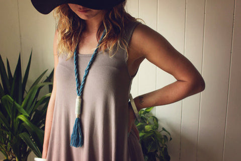 Horizon Necklace V Tassel Necklace | Turquoise