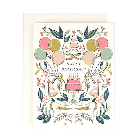 """Balloons and Cake"" Birthday Card"