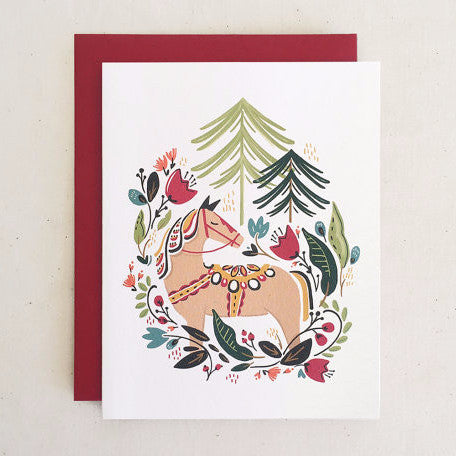 """Dala Winter Pony"" Holiday Card by Paper Pony Co., available at Three Hearts Home"