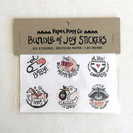 """Bundle of Joy"" Set of 6 Stickers by Paper Pony Co., available at Three Hearts Home"