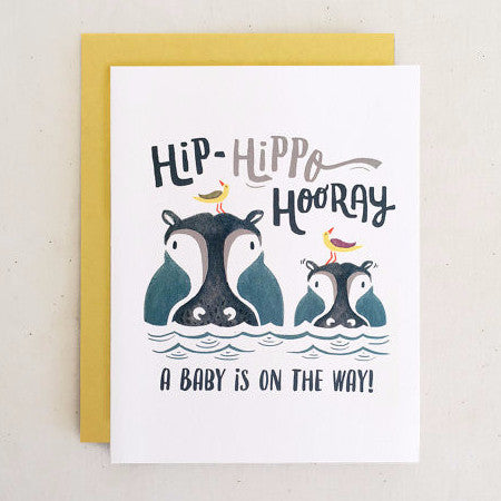 """Hippo Hooray"" Baby Card by Paper Pony Co., available at Three Hearts Home"